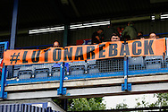 A banner that reads '#LUTONAREBACK' before their first home game back in the Football League before the Sky Bet League 2 match at Kenilworth Road, Luton<br /> Picture by David Horn/Focus Images Ltd +44 7545 970036<br /> 16/08/2014