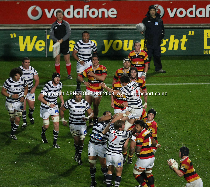 General view from Sky TV camera position of a lineout. Air NZ Cup, Waikato v Auckland, Waikato Stadium, Hamilton, Saturday 30 August 2008. Waikato won 34-13. Photo: Stephen Barker/PHOTOSPORT