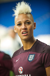 CARDIFF, WALES - Tuesday, August 21, 2014: England's Lianne Sanderson warms-up before the FIFA Women's World Cup Canada 2015 Qualifying Group 6 match against Wales at the Cardiff City Stadium. (Pic by Ian Cook/Propaganda)