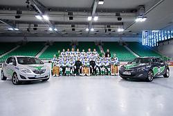 Team HDD Tilia Olimpija ice-hockey team for season 2010/2011 at official photo shooting in Hala Tivoli, Ljubljana; First line (from Left): Matic Boh, Peter Sachl, Ziga Pance, Assistant Coach Andrej Hebar, Ales Sila, Head Coach Hannu Jarvenpaa, Matt Higgins, Kari Haakana, Matija Pintaric; Second line: John Hughes, Igor Cvetek, Nejc Berlisk, Damjan Dervaric, Kevin Kantee, Ziga Pavlin, Bostjan Groznik, Jure Kralj, Anze Ropret, Tomi Mustonen, Andrej Hebar, Sami Ryhanen; Third line: PR Tomaz Langerholz, Matej Hocevar, Bostjan Golicic, Jure Stopar, David Sefic, Eric Pance, Gregor Rezek, Anze Florjancic, Massage Therapist Damir Eibel, Equipment Manager Janez Karnicar; on September 1, 2010, in Ljubljana, Slovenia. (Photo by Matic Klansek Velej / Sportida)