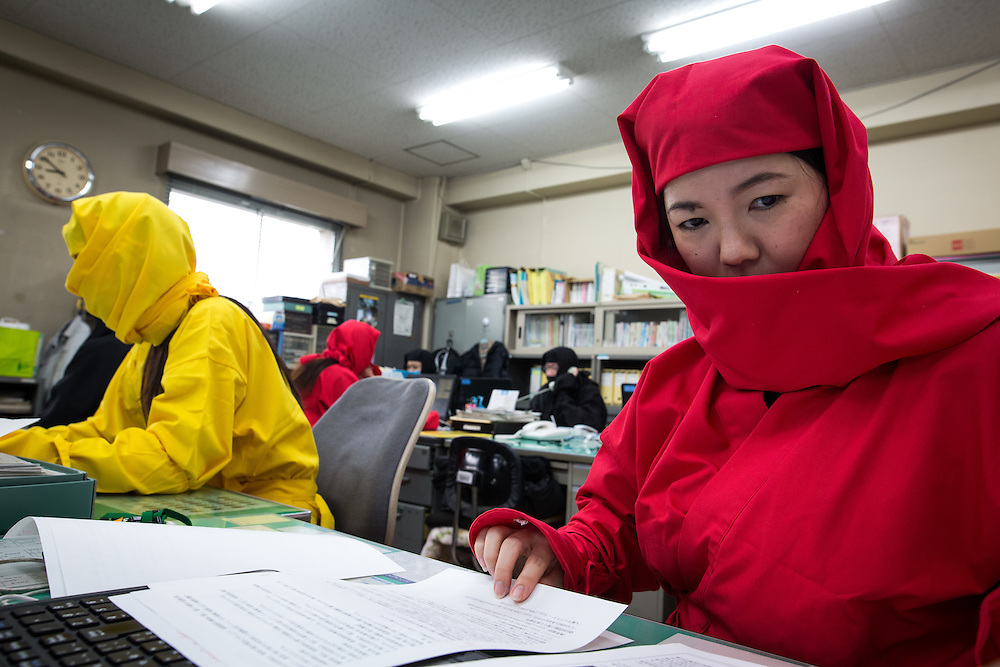 KOKA, JAPAN - FEBRUARY 20 : Koka city tourism division staffs wearing ninja costumes work at the Koka City Hall on February 20, 2017 in Koka, Shiga Prefecture, Japan. Koka city, known as the 'Koga' Ninja clan hometown, promotes the Ninja-day, which is February 22. (Photo by Richard Atrero de Guzman/NUR Photo)