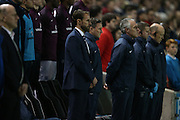 Gareth Southgate observes a minute of silence during the UEFA European Championship Under 21 2017 Qualifier match between England and Switzerland at the American Express Community Stadium, Brighton and Hove, England on 16 November 2015.