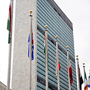 Flags in front of the main United Nations office building in New York City