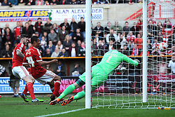 Swindon Town's Ben Gladwin scores his second goal of the game - Photo mandatory by-line: Dougie Allward/JMP - Mobile: 07966 386802 - 11/05/2015 - SPORT - Football - Swindon - County Ground - Swindon Town v Sheffield United - Sky Bet League One - Play-Off