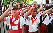 MARCH 19, 2001 - HAVANA, CUBA:  Elementary school students from Escuela Primaria Hermanas Giral in the Vedado section of Havana, Cuba, at an assembly before the start of classes, March 19, 2001. Despite problems in its economy,  Cuba's educational system remains strong and is considered a role model for many developing countries. Cuba has virtually eliminated illiteracy.  PHOTO BY  JACK KURTZ       WOMEN   EDUCATION  FAMILY  CHILDREN