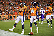 DENVER, CO - AUGUST 11:  Phillip Lindsay #2 of the Denver Broncos celebrates after scoring a touchdown during a game against the Minnesota Vikings during week one of the preseason at Broncos Stadium at Mile High on August 11, 2018 in Denver, Colorado.  The Vikings defeated the Broncos 42-28.  (Photo by Wesley Hitt/Getty Images) *** Local Caption *** Phillip Lindsay