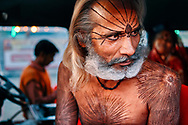 A sadhu from the state of Madhya Pradesh. He was a follower of Goddess Kali and was living in his own vehicle during the Kumbh Mela in Allahabad.