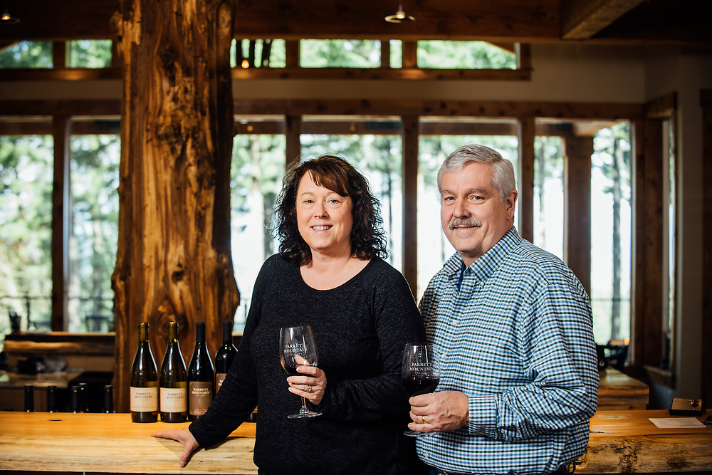 Dennis and Marlene Grant owners and winemaker for Parrot Mountain Cellars.