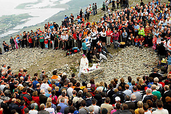 Archbishop Michael Neary celebrating Reek Sunday mass on the summit of Croagh Patrick. The mass was broadcast by RTE and was also streamed on the RTE website...Pic Conor McKeown