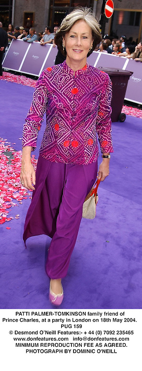 PATTI PALMER-TOMKINSON family friend of Prince Charles, at a party in London on 18th May 2004.PUG 159