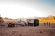 Mobile home , trailer, speakers at Middle East Tek, Wadi Rum, Jordan, 2008