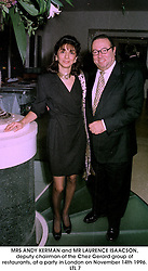 MRS ANDY KERMAN and MR LAURENCE ISAACSON, deputy chairman of the Chez Gerard group of restaurants, at a party in London on November 14th 1996.LTL 7