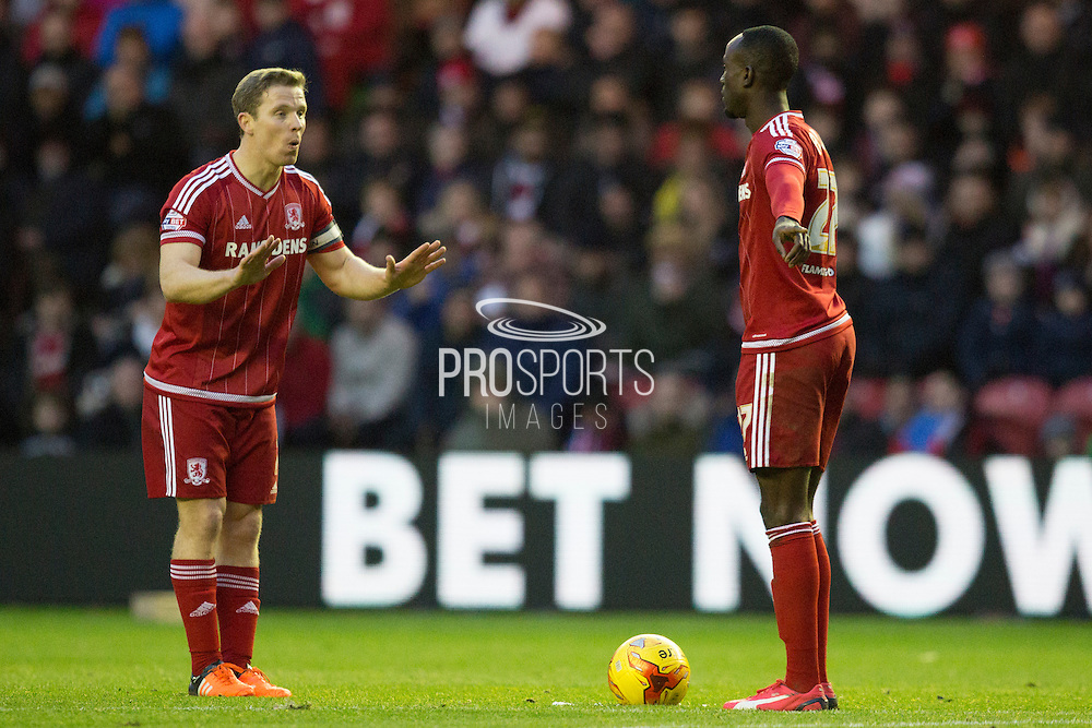 Middlesbrough FC midfielder Grant Leadbitter (7) works out a free kick with team mate Middlesbrough FC defender Dael Fry (22) during the Sky Bet Championship match between Middlesbrough and Nottingham Forest at the Riverside Stadium, Middlesbrough, England on 23 January 2016. Photo by George Ledger.