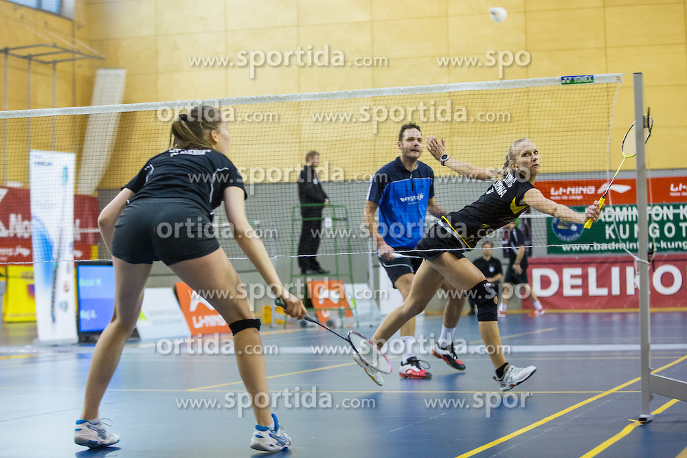 Luka Petric (BK Branik) and Tina Kodric (BK Kungota) during 58th Slovenian national championship in badminton on Februar 1, 2015 in Zg. Kungota, Slovenia. (Photo By Grega Valancic / Sportida)