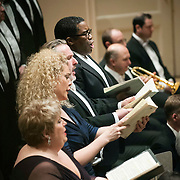 """March 6, 2012 - New York, NY : .Guest conductor Jon Oliver (not pictured) leads the Boston Symphony Orchestra featuring the Tanglewood Festival Chorus (not pictured) and, from fore to aft, soprano Christine Brewer, mezzo-soprano Michelle DeYoung, tenor Simon O'Neill, and bass-baritone Eric Owens in Ludwig Van Beethoven's """"Missa solemnis in D Major, Op. 123 (1819-1823)' in Isaac Stern Auditorium at Carnegie Hall on Tuesday night..CREDIT : Karsten Moran for The New York Times"""