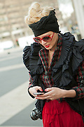 Fashion blogger Chantal Adair of NYCStreetfile.com outside the Mercedes-Benz Fall Fashion Week show on Valentine's Day.