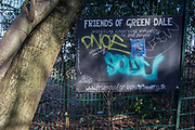 A sign for the Friends of Green Dale, a quiet public pedestrian and cycle route that once bordered the garden of Victorian industrialist Henry Bessemer, in the borough of Southwark, on 24th February 2018, in south London, England.