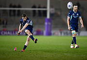 Connacht fly-half Jack Carty kicks a penalty during a European Challenge Cup Quarter Final match in Eccles, Greater Manchester, United Kingdom, Friday, March 29, 2019.  (Steve Flynn/Image of Sport)