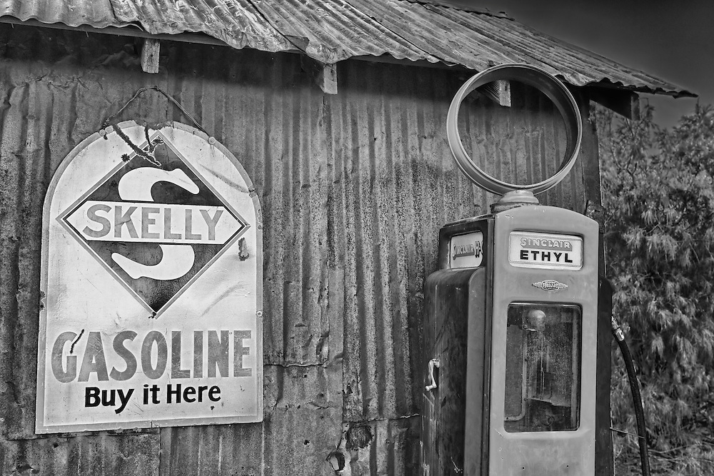 Skelly Gasoline Sign And Sinclair Ethyl Gasoline Pump - Eldorado Canyon - Nelson NV - HDR -  Black & White