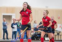 DELFT - Thirsa Kho (Nijm)  heeft gescoord, tijdens de zaalhockey competitiewedstrijd Laren-Nijmegen. COPYRIGHT KOEN SUYK