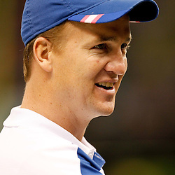 October 23, 2011; New Orleans, LA, USA; Indianapolis Colts quarterback Peyton Manning (18) prior to kickoff of a game against the New Orleans Saints at the Mercedes-Benz Superdome. Mandatory Credit: Derick E. Hingle-US PRESSWIRE / © Derick E. Hingle 2011