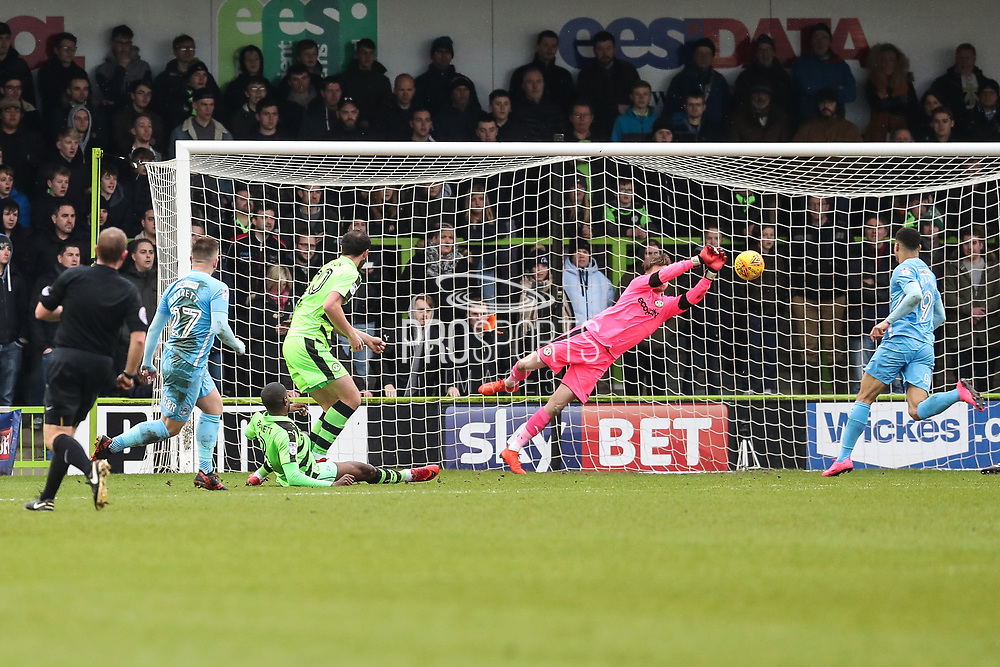 Coventry City's Josh Barrett(27) shoots at goal saved by Forest Green Rovers goalkeeper Bradley Collins(1) during the EFL Sky Bet League 2 match between Forest Green Rovers and Coventry City at the New Lawn, Forest Green, United Kingdom on 3 February 2018. Picture by Shane Healey.