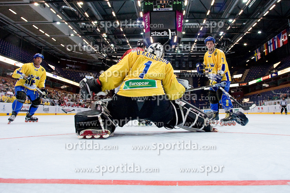 Puck crossing the line on David Hammond's shot for sixth goal for Canada at IIHF In-Line Hockey World Championships Top Division Bronze medal game between National teams of Canada and Sweden on July 4, 2010, in Karlstad, Sweden. (Photo by Matic Klansek Velej / Sportida)