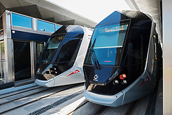 Station and trams on new Dubai Tram system in Marina district of Dubai United Arab Emirates