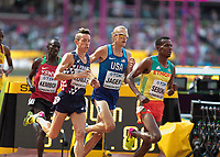 Athletics - 2017 IAAF London World Athletics Championships - Day Three, Morning Session<br /> <br /> 3000m Steeplechase Men - Round 1 (Heat 2)<br />  <br /> Evan Jager (United States) follows Tafese Seboka (Ethiopia) at the London Stadium<br /> <br /> COLORSPORT/DANIEL BEARHAM