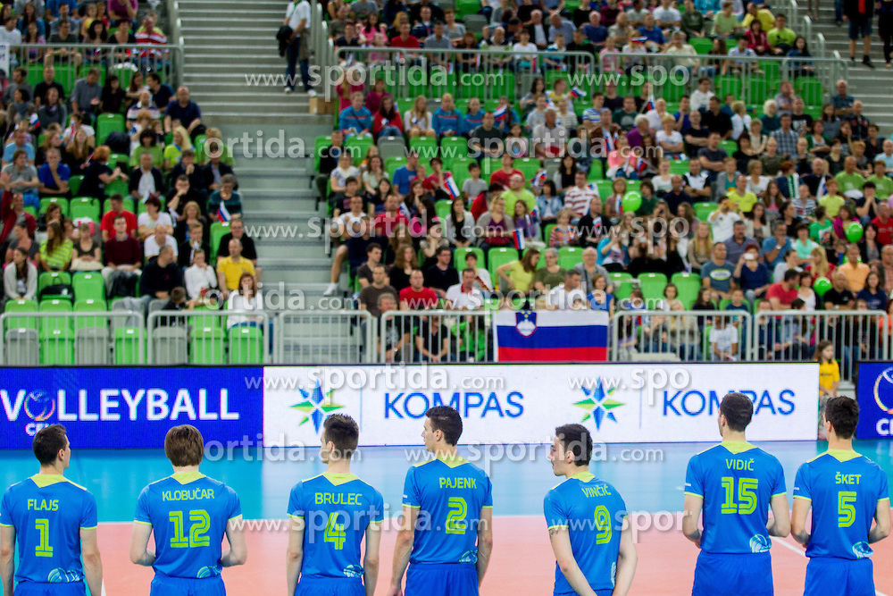 Players of Slovenia during volleyball match between National Teams of Slovenia and Croatia in 2nd leg of Eurovolley 2013 Qualifications on June 8, 2013 in Arena Stozice, Ljubljana, Slovenia. Slovenia defeated Croatia 3-0 and qualified to Euro 2013. (Photo By Vid Ponikvar / Sportida)
