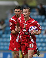 Photo: Rich Eaton.<br /> <br /> Millwall v Swindon Town. Coca Cola League 1. 29/09/2007. Swindon's Simon Cox  (R) all smiles after scoring for Swindon to make it 1-0.