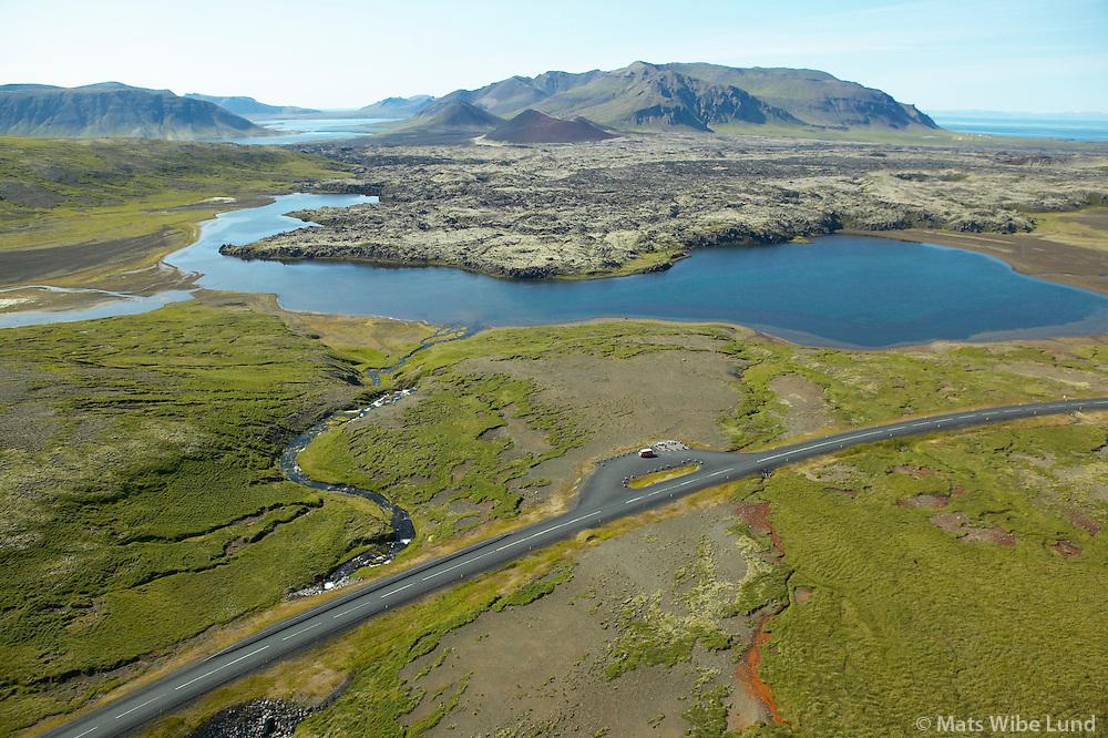Selvallavatn og Berserkjahraun séð til norðvesturs. Helgafellssveit.  Útsýnisstaður við þjóðveginn. /  Lake Selvallavatn and the lavafield Berserkjahraun viewing northwest, Helgafellssveit. Place of interest beside the road.