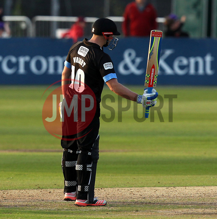 Sussex's Luke Wright raises his bat after getting to 100 - Photo mandatory by-line: Robbie Stephenson/JMP - Mobile: 07966 386802 - 26/06/2015 - SPORT - Cricket - Bristol - The County Ground - Gloucestershire v Sussex - Natwest T20 Blast