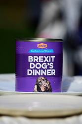 "© Licensed to London News Pictures. 10/03/2019. LONDON, UK. A can of dog food for Pro-Remain owners bringing their dogs to Victoria Park Gardens, next to the Houses of Parliament, for ""Brexit is a Dog's Dinner"", a protest to urge MPs to vote to ensure that a no-deal Brexit is avoided and to give the people of the UK a final say.  Next week, there will be a series of up to three votes in the House of Commons where MPs will vote on whether to accept Theresa May's Brexit deal.  Photo credit: Stephen Chung/LNP"