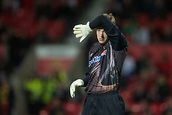 MANCHESTER, ENGLAND - Tuesday, October 26, 2010: Wolverhampton Wanderers' goalkeeper Wayne Hennessey in action against Manchester United during the Football League Cup 4th Round match at Old Trafford. (Pic by: David Rawcliffe/Propaganda)
