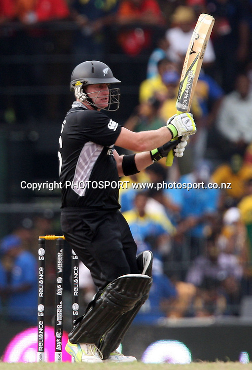 New Zealand batsman Scott Styris plays a shot against Sri Lanka during ICC Cricket World Cup - 1st Semi-Final New Zealand vs Sri Lanka Played at R Premadasa Stadium, Colombo, 29 March 2011 - day/night (50-over match)