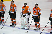 RIT players, with goaltender and Rochester native Mike Rotolo at center, line up for the National Anthem before the Atlantic Hockey semifinal against Air Force at the Blue Cross Arena at the War Memorial in Rochester on Friday, March 18, 2016.