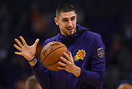 Oct 25, 2017; Phoenix, AZ, USA; Phoenix Suns center Alex Len (21) warms up for the game against the Utah Jazz at Talking Stick Resort Arena. Mandatory Credit: Jennifer Stewart-USA TODAY Sports
