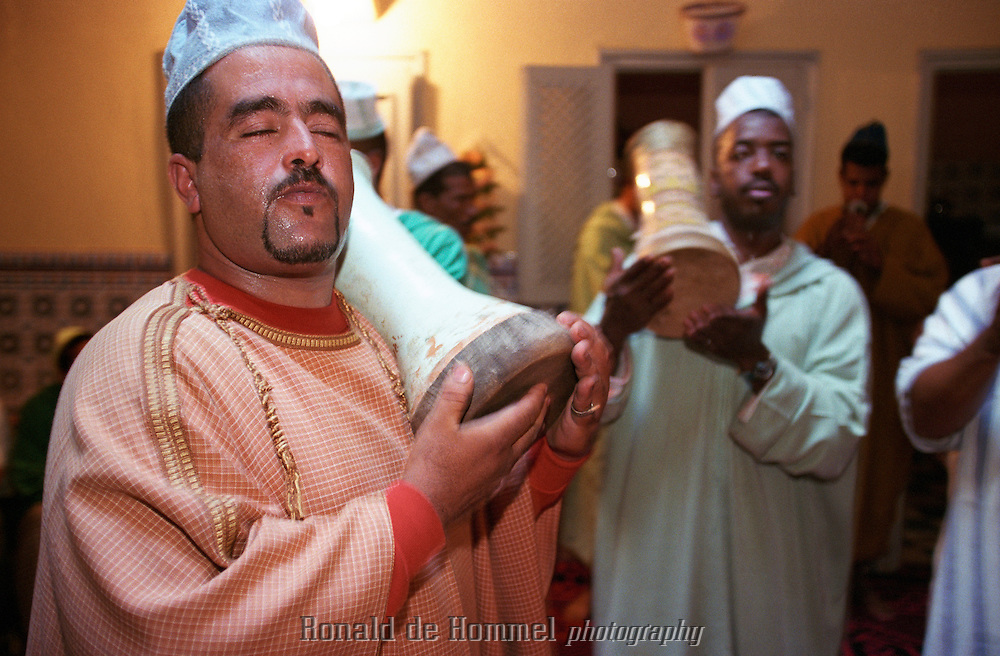 Hmadcha, a group of traditional musicians from Marakesh in southern Morocco. .