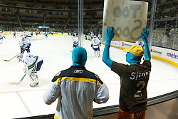 Sep 29, 2011; San Jose, CA, USA; San Jose Sharks fans taunt the Vancouver Canucks during warm ups before the game at HP Pavilion.  Mandatory Credit: Jason O. Watson-US PRESSWIRE
