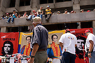 Supporters of Venezuela's President Hugo Chavez during a workers parade in Caracas, May 1, 2008. Chavez pumped up the minimum wage by 30 percent on Wednesday and said putting cash in workers' pockets came before his battle with Latin America's highest inflation rate. (ivan gonzalez)