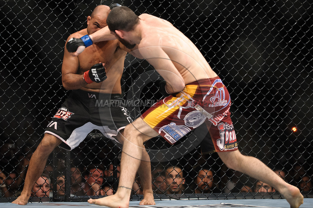 "SYDNEY, AUSTRALIA, FEBRUARY 27, 2011: BJ Penn (facing) tries to block a punch from Jon Fitch during ""UFC 127: Penn vs. Fitch"" inside Acer Arena in Sydney, Australia on February 27, 2011."