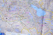 Road map of Armenia, Turkey and the Caucasus