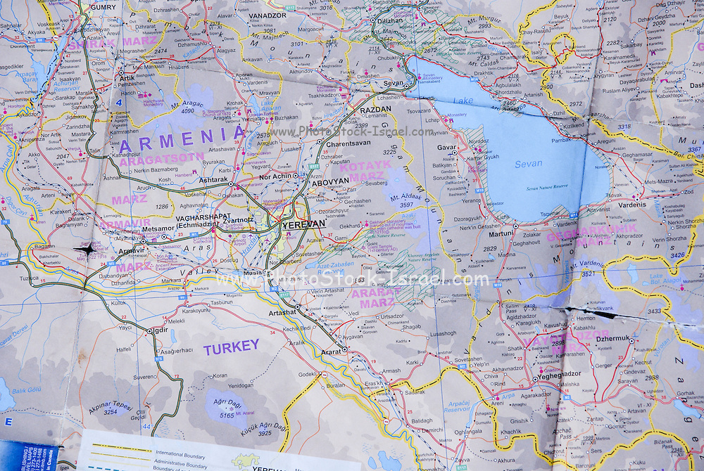 Road map of Armenia, Turkey and the Caucasus