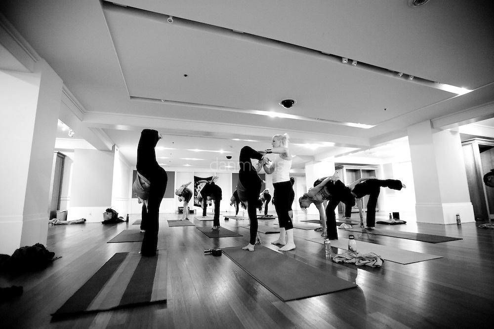 Jennifer Ellen - Mueller leads yoga class at Prana Yoga Trolley Square in Salt Lake City.  Jennifer is a co-owner of Prana Yoga along with Matt Newman and Scott Moore.
