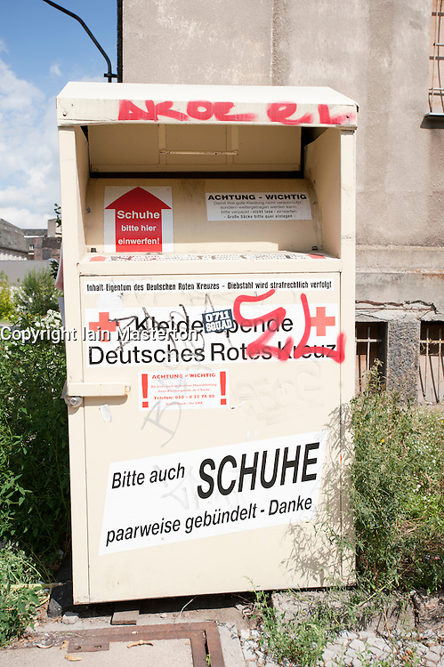 German Red Cross container to collect used clothes and  shoes for  reuse in Berlin Germany