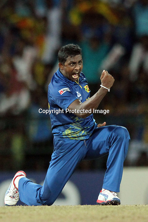 Ajantha Mendis of Sri Lanka celebrates after dismissing Andre Russell of West Indies during the ICC World Twenty20 final between Sri Lanka and the West Indies held at the Premadasa Stadium in Colombo, Sri Lanka on the 7th October 2012.<br /> <br /> Photo by Sanka vidanagama/SPORTZPICS/PHOTOSPORT