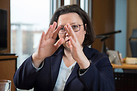 15 MAR 2018, BERLIN/GERMANY:<br /> Andrea Nahles, SPD Fraktionsvorsitzende, waehrend einem Interview, in ihrem Buero, Jakob-Kaiser-Haus, Deutscher Bundestag<br /> IMAGE: 20180315-01-003<br /> KEYWORDS: B&uuml;ro