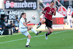 09.04.2011, easy Credit Stadion, Nuernberg, GER, 1.FBL, 1. FC Nuernberg / Nürnberg vs FC Bayern München / Muenchen, im Bild:.Philipp Lahm (Muenchen #21) gg Christian Eigler (Nuernberg #8).EXPA Pictures © 2011, PhotoCredit: EXPA/ nph/  Will       ****** out of GER / SWE / CRO  / BEL ******