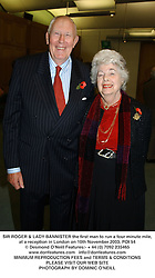 SIR ROGER & LADY BANNISTER the first man to run a four minute mile, at a reception in London on 10th November 2003.POI 54